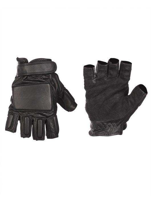 SECURITY BLACK LEATHER FINGERLESS GLOVES